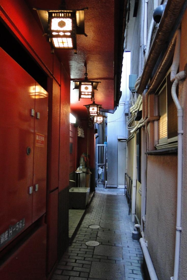 An inari shrine hidden in a Ginza alley