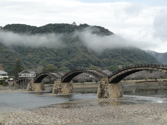 Kintai Bridge with the castle in the background