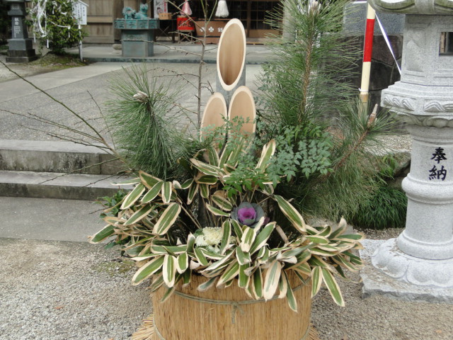 The kadomatsu arrangement outside a shrine in Kyushu
