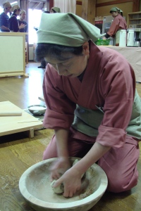 Kneading the dough for soba