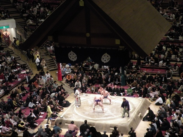 The ring at a sumo match