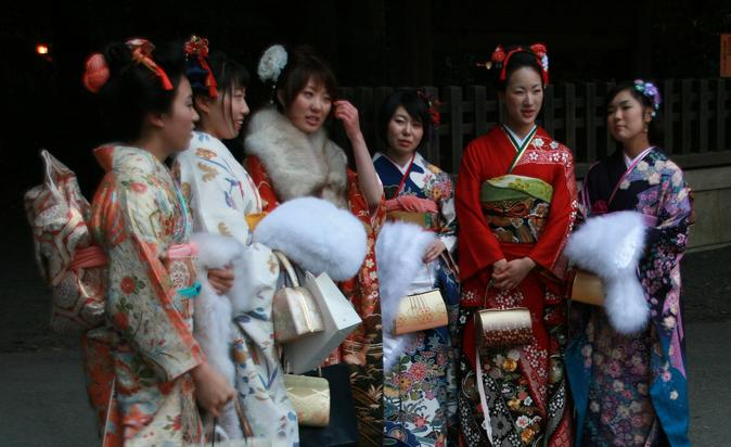 Young girls celebrate Coming of Age Day in Tokyo (Source: Wikipedia)