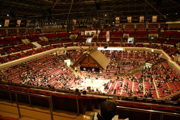 The inside of the Kokugikan during a sumo tournament