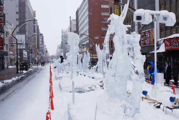 Ice sculptures at the Susukino site