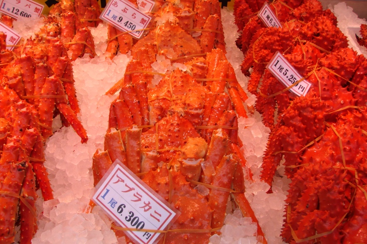 Crabs for sale at the Nijo Fish Market