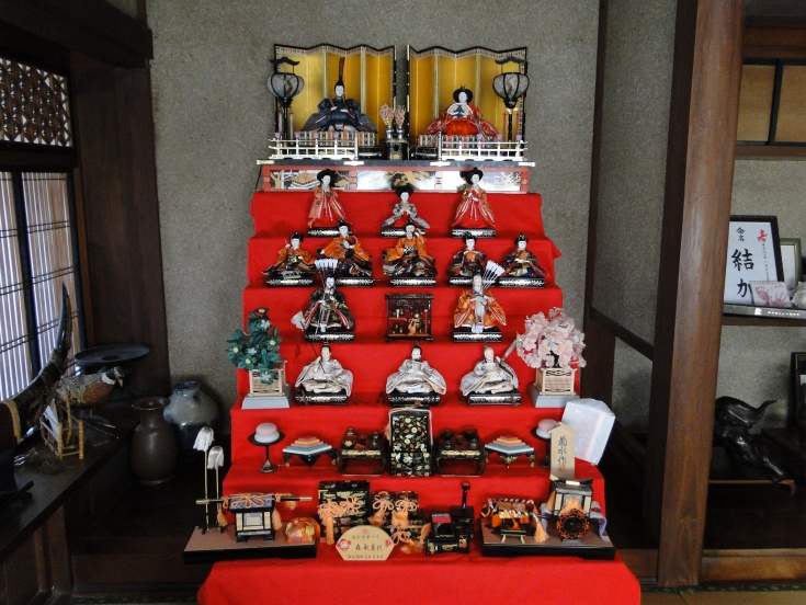 The beautiful display of hina dolls at my neighbor's mother's home