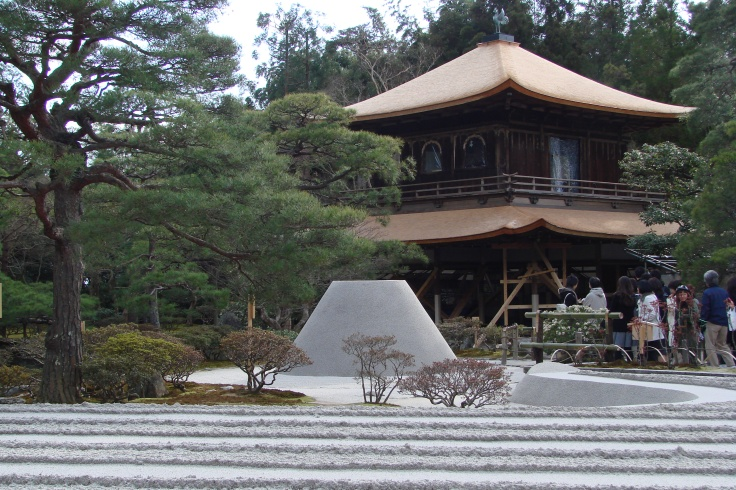 Ginkakuji with the perfect cone of sand in front