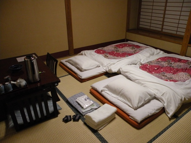 Futons laid out at a ryokan in Nagano