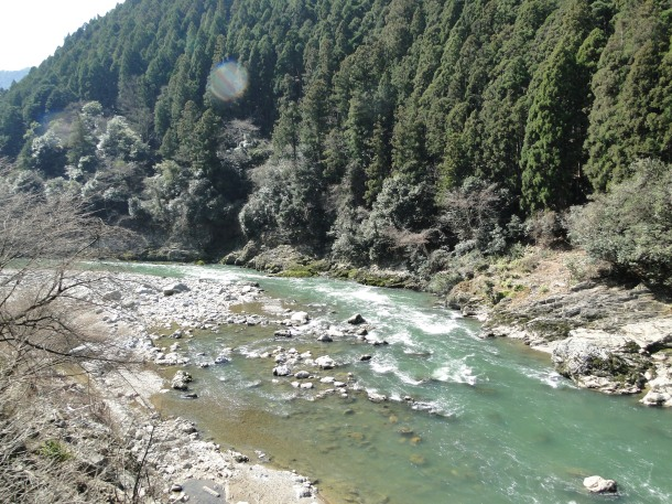 A view of the Hozu River from the train route