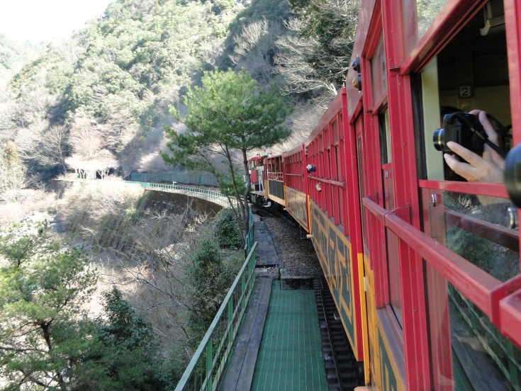 A shot of the Sagano Scenic Railway in action