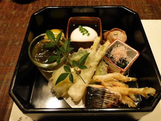 The hassun, or starter course, for the mini kaiseki meal