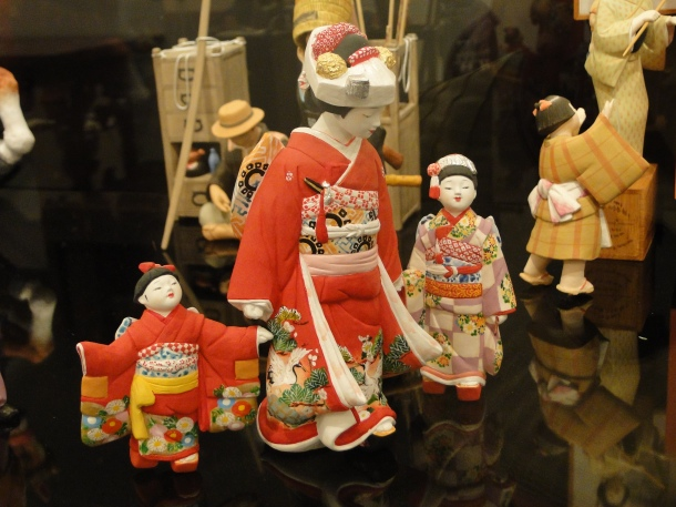 Hand-painted Hakata dolls on display