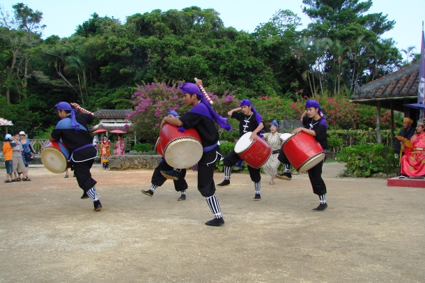 An eisa performance at Ryukyu Mura