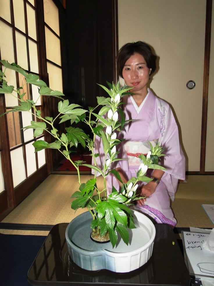 Kimiko Yamamoto, the ikebana instructor at Cadeau