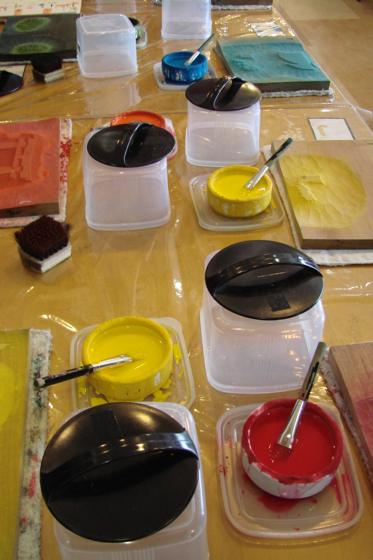 Paints and printing blocks for ukiyo-e at Kyoto Handicraft Center