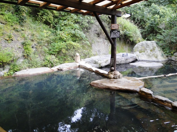 Rotemburo baths at a riverside onsen ryokan