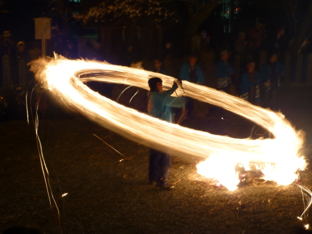 Aso's fire festival, to pray for a good rice crop