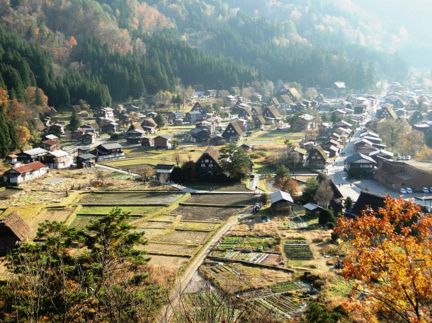 A view looking down on Ogimachi village