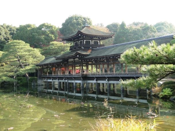 Bridge in the garden at the Heian Shrine