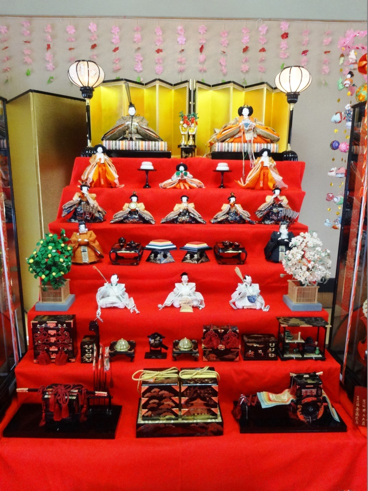 A display of Hina dolls