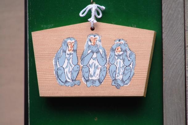 Monkeys on an ema at Nikko Toshogu