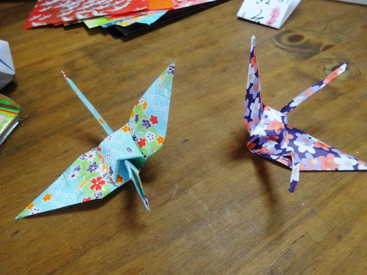 My own efforts at origami cranes