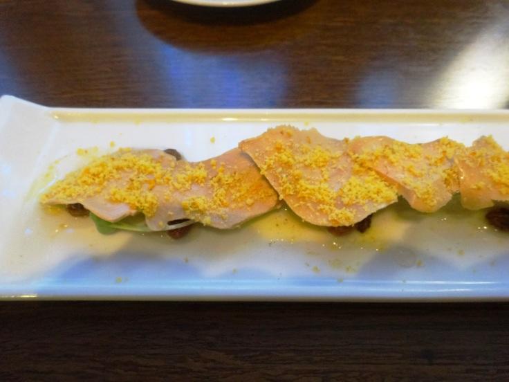 Foie gras over aloe vera