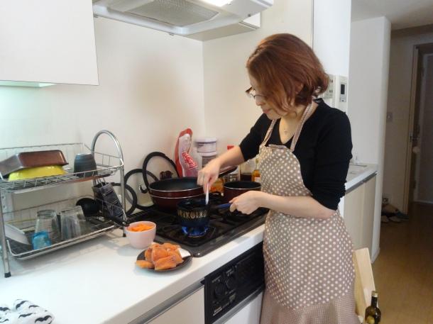 Mari-san in her kitchen