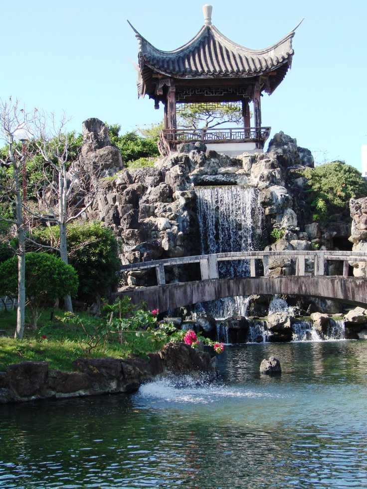 The pagoda in the center of the garden
