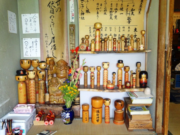Traditional kokeshi at a shop in Tohoku