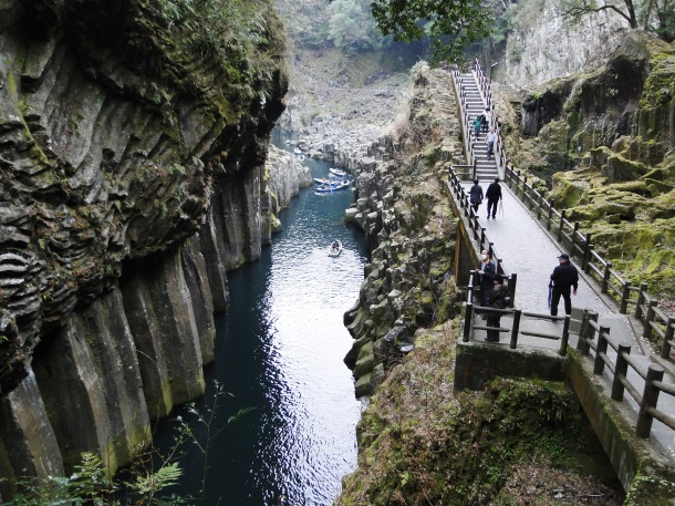 Boating through the gorge in Takachiho