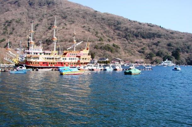 The pirate ships on Lake Ashi