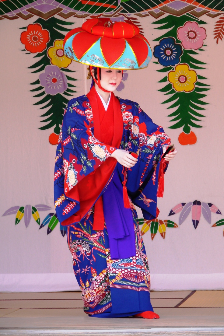 Performer at Shuri Castle in traditional bingata kimono