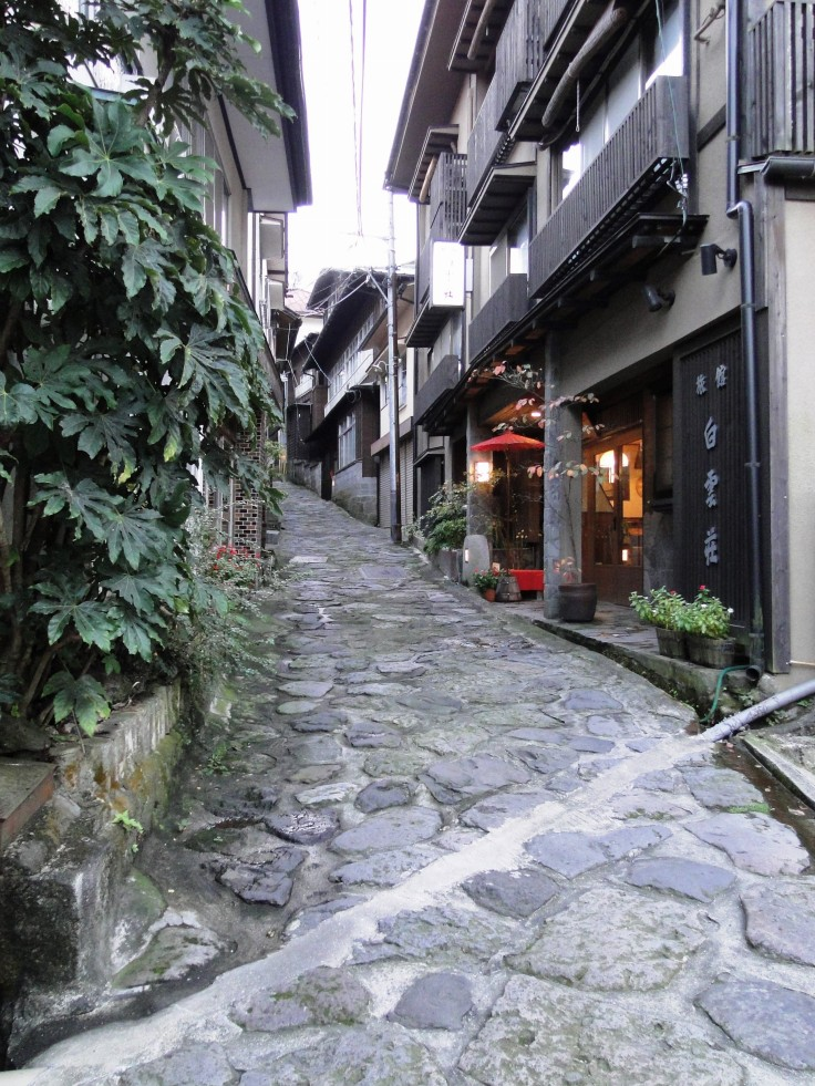 The cobbled main street of Yunohira Onsen