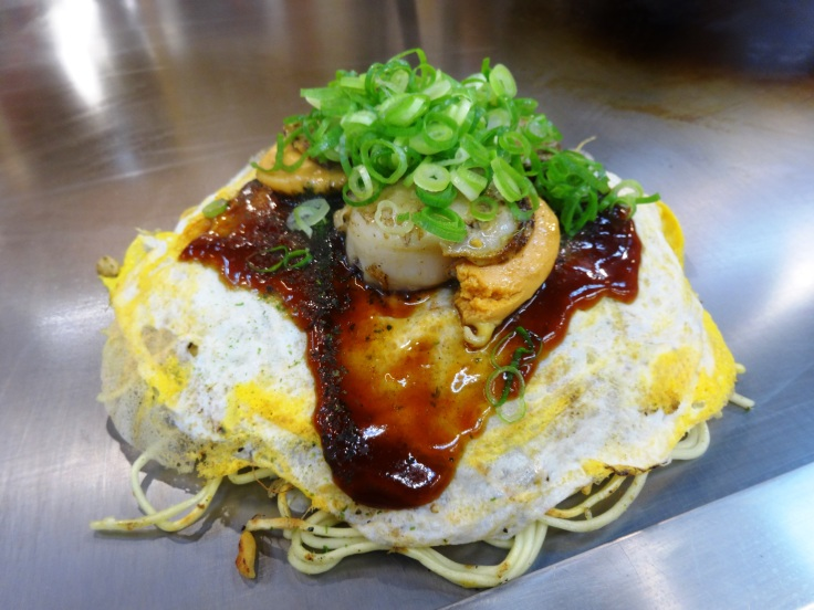 Scallop okonomiyaki, ready to eat