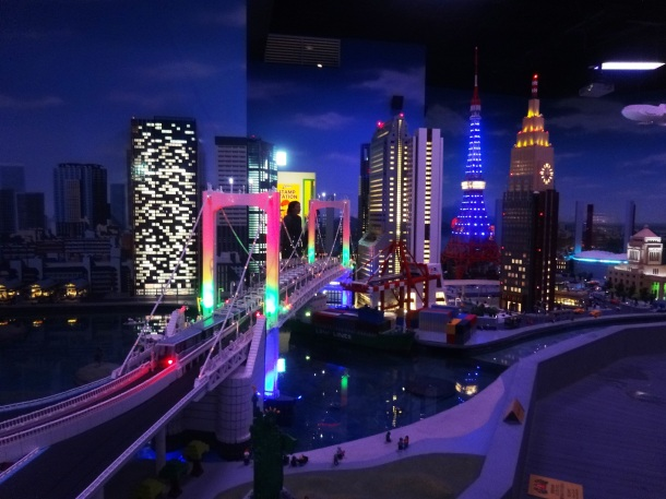 "Sections of the mini city light up at ""night"""
