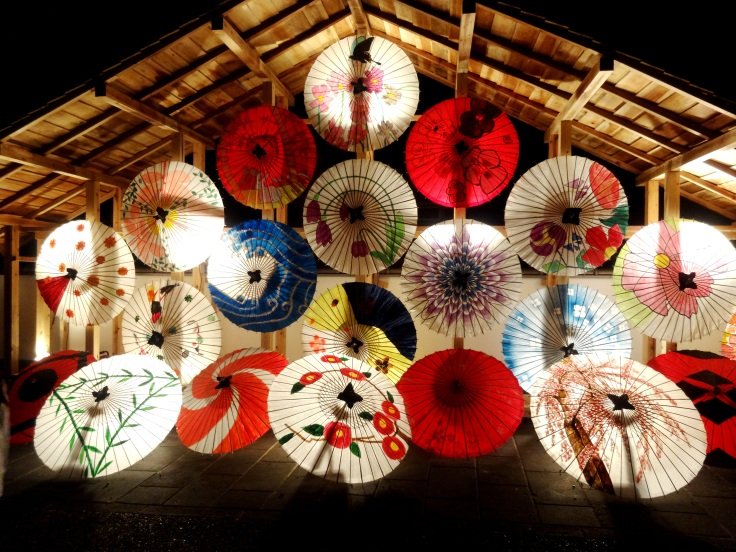 Illuminated wagasa at the Yamaga Winter Festival