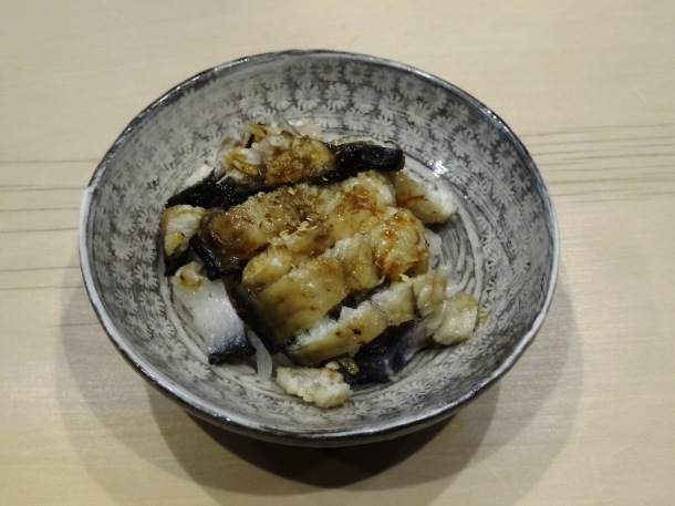 The closing dish - eel served on handcrafted Karatsu pottery - of my Saga omakase meal.