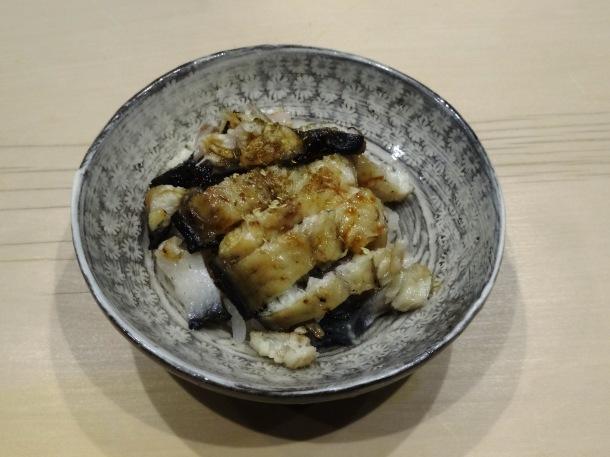 The closing dish - eel served on handcrafted Karatsu pottery - of my Saga omakase meal.