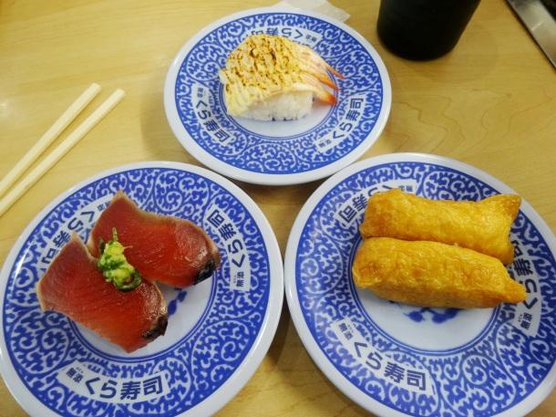 Three of my favorite selections at Kurazushi