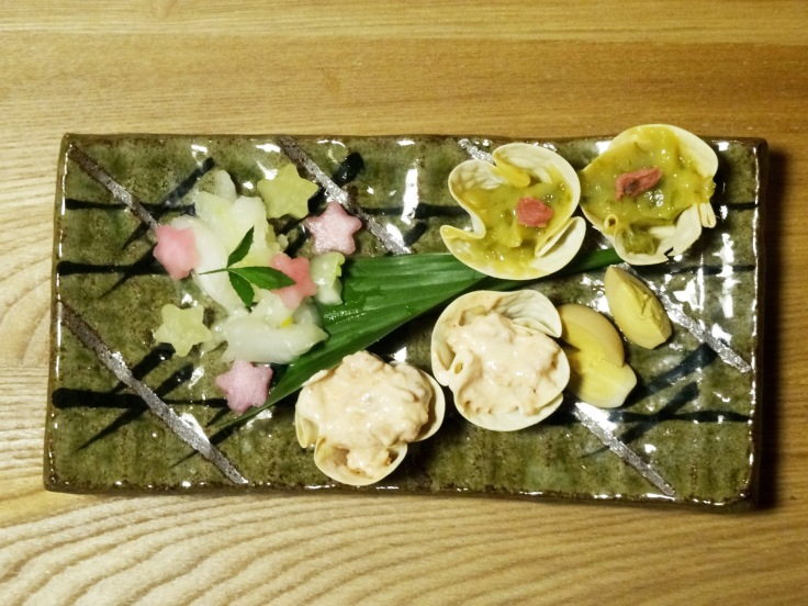 A plate of nibbles to accompany our sake
