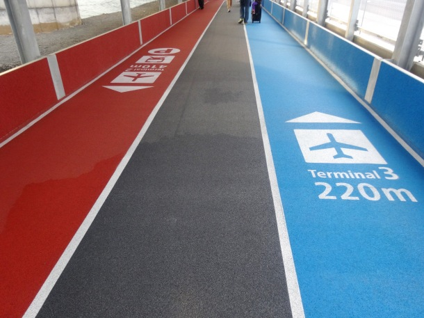 Color-coded lanes for departures and arrivals