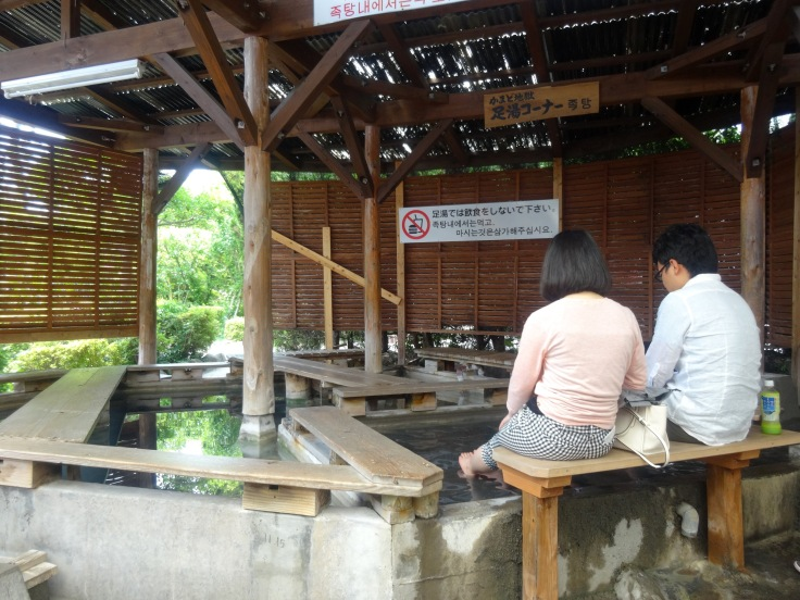Soaking feet at Kamado Jigoku