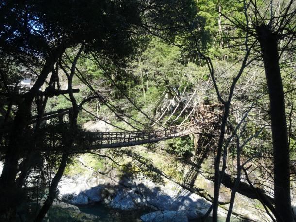 The Kazurabashi (vine bridge) in the western part of the Iya Valley