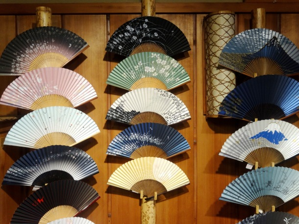 Folding fans for sale in Kyoto