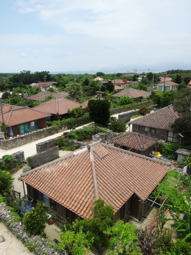 A view of Taketomi village from the watchtower in town