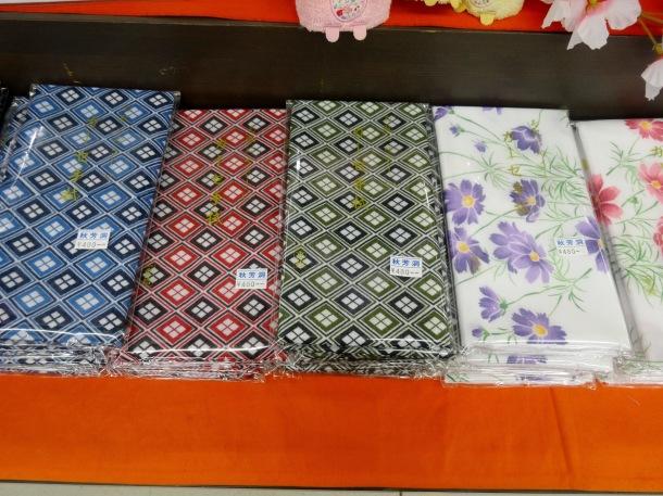 Cheap tenugui for sale in a gift shop in Yamaguchi