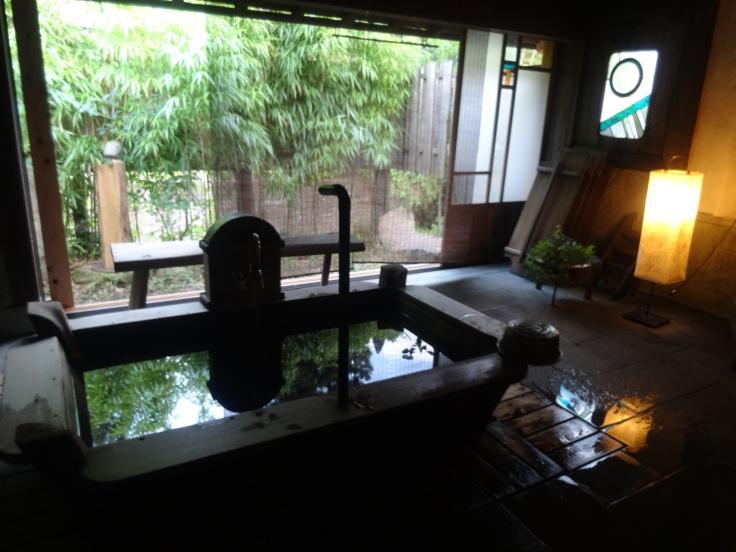 The beautiful bath of our rustic ryokan near Iwami Ginzan