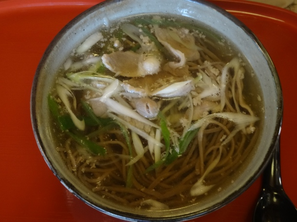 Hot soba topped with slices of duck