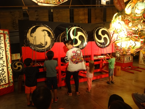 Kids try their hand at the taiko